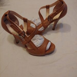 Coach tan leather heels